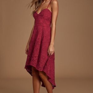 Lulus so adored burgundy crochet high low dress